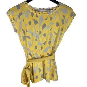 Anthropologie Moth Yellow Floral Top Tie X Small